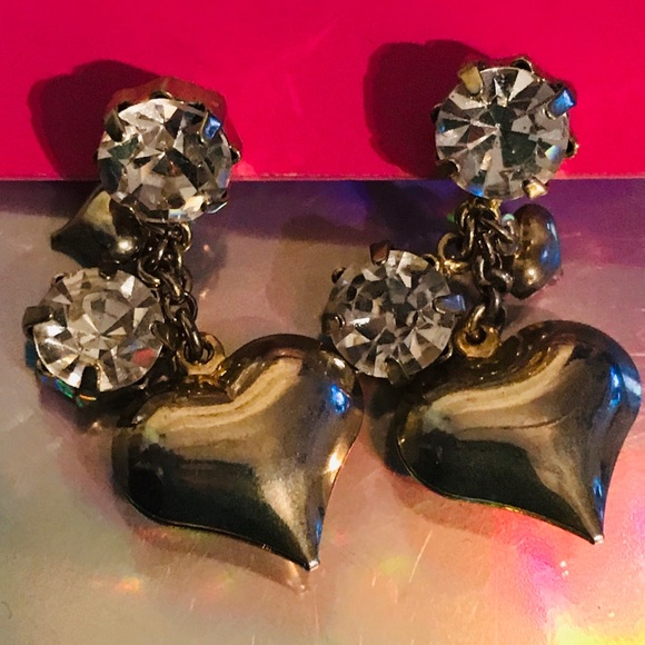 Betsey Johnson Jewelry - Crystal rhinestone heart earrings vintage Betsey J